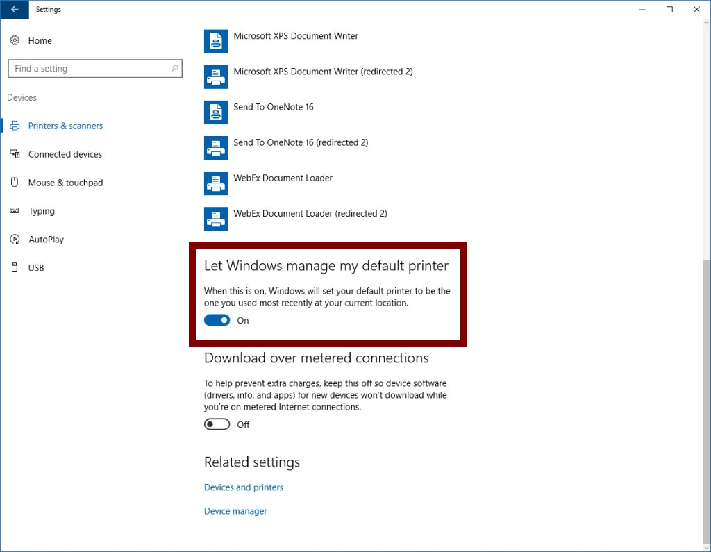 Windows 10 Default Printer Feature