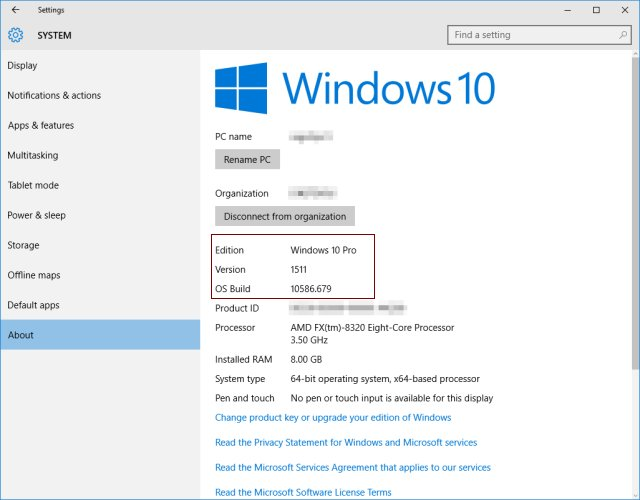 Windows 10 Version Numbers
